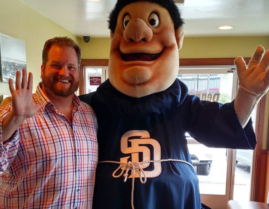 CJ with the San Diego Padres Friar : Go Padres!